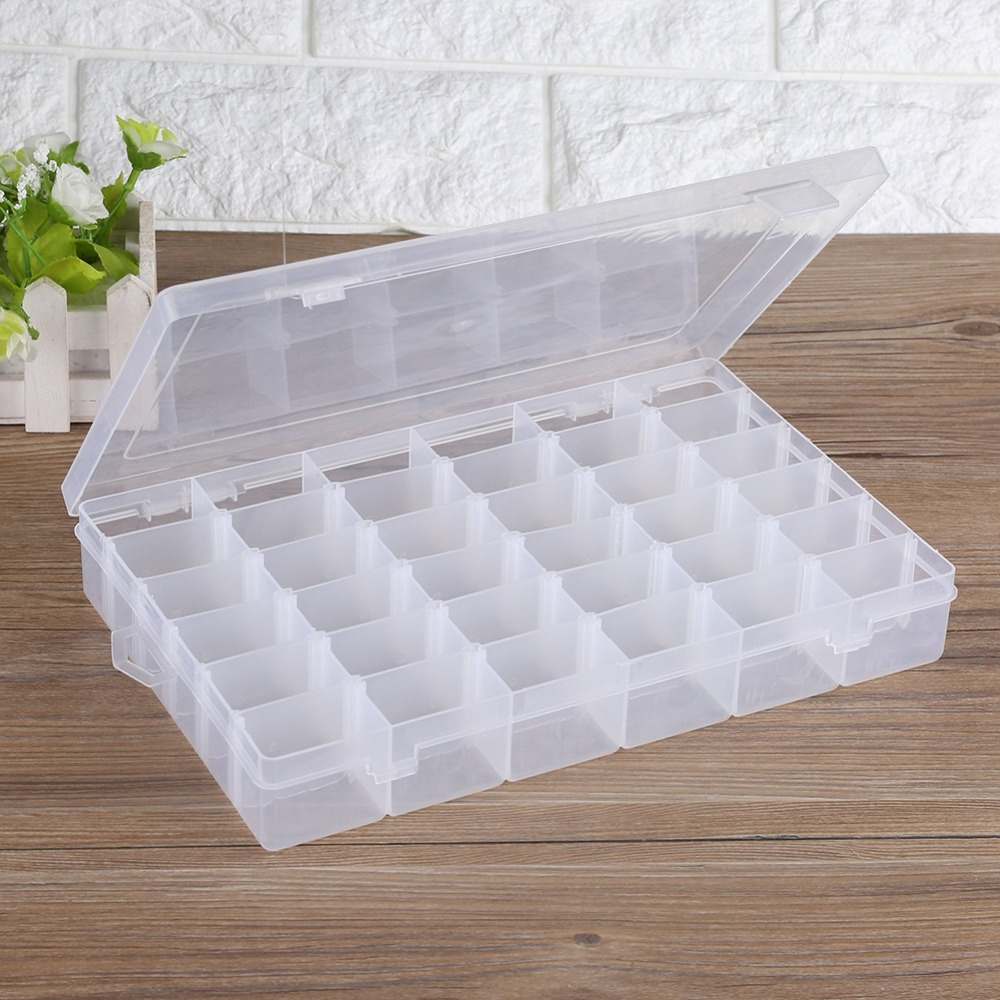 36 Grid Jewelry Bead Plastic Clear Organizer Storage Box Compartment Container