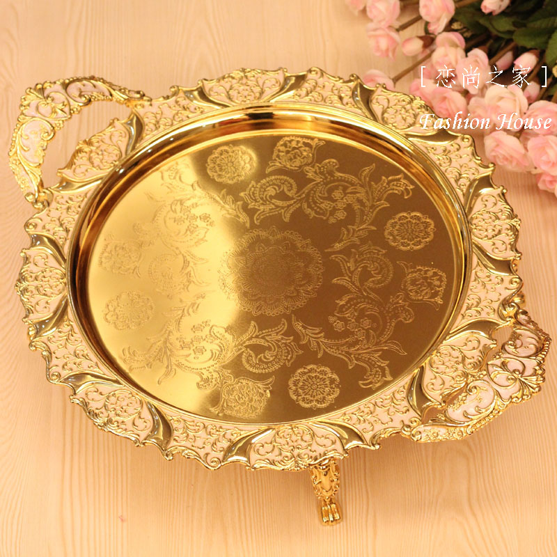 Ev ve Bahçe'ten Saklama Tepsileri'de Lüks moda meyve tabağı kaliteli alaşımlı palet ev moda altın büyük meyve tabağı ktv büyük meyve çanağı tabak'da  Grup 1
