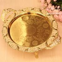 Luxury fashion fruit plate quality alloy pallet home fashion gold big fruit plate ktv big fruit dish food dish