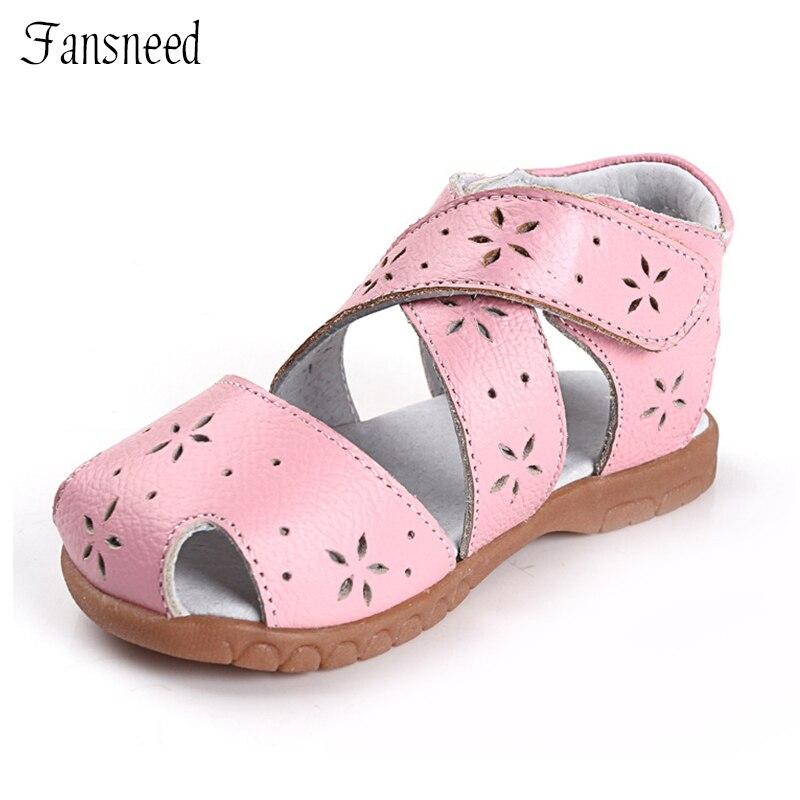 Ægte læder børn sko kvindelige børne cutout lædersandaler baby cow muskler bløde ydersål toddler sko