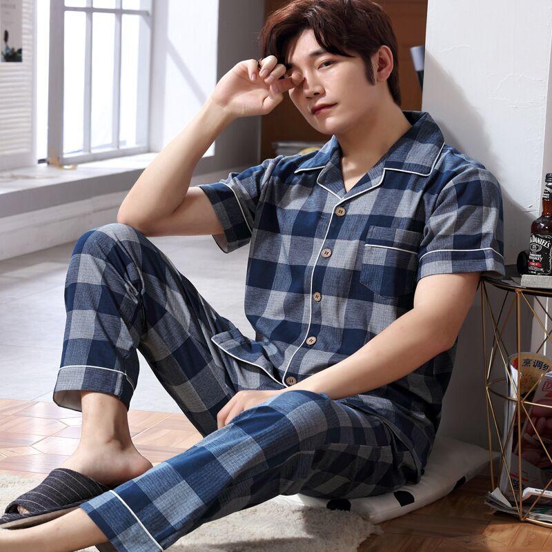 New Pyjamas Men Print Casual Plus Size Cotton Sleepwear Mens Lounge Wear Lounge Wear Winter Pajamas Pijama Hombre
