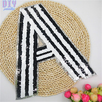 27CM Letter A Sequins Sew On Patches Paillette Embroidered Cloth Applique Badge Fabric Apparel Sewing Crafts DIY 2016 NEW