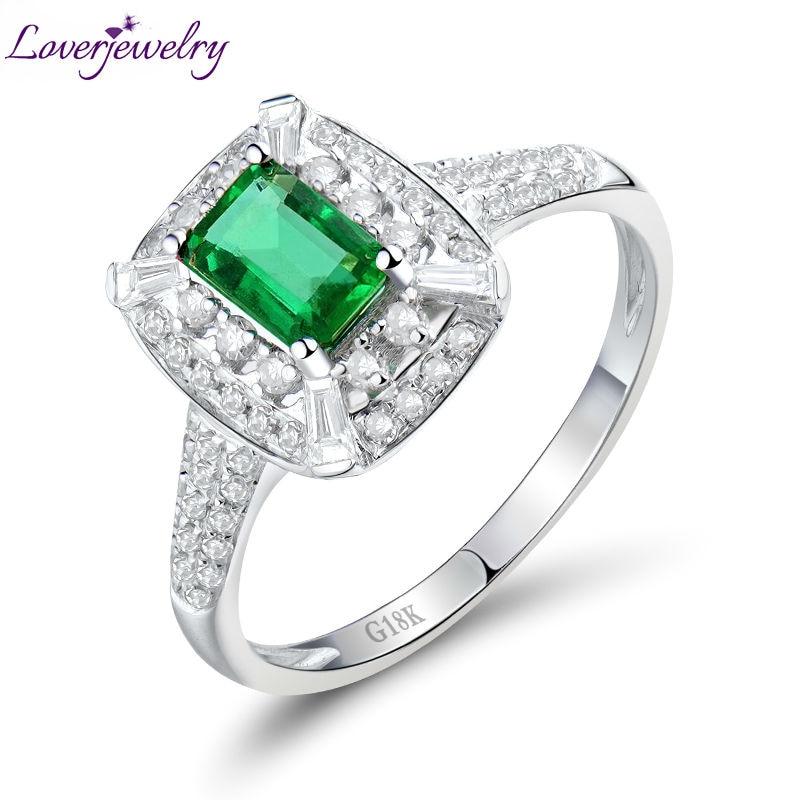 Bague royale solide 18Kt or blanc naturel émeraude bagues de fiançailles avec diamant bijoux Design pierre gemme de luxe pour les femmes