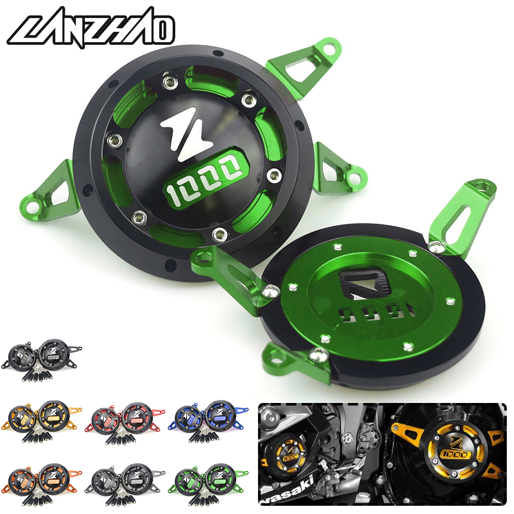 CNC Aluminum Motorcycle Engine Guard Side Stator Case Guard Protector Green for <font><b>Kawasaki</b></font> Z1000 <font><b>Z1000SX</b></font> 2011 - 2017 <font><b>2018</b></font> 2019 image