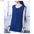 Women's Sleeveless Cotton Linen Vintage Casual Pullover T-shirt Mori Girls Cloth Flower Buttons Summoer Beach Blouse Shirt Top