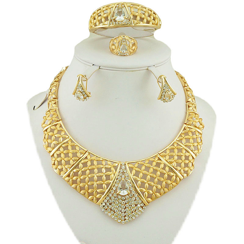 african gold jewelry sets color guaranteed high quality wedding jewelry sets women fashion necklace