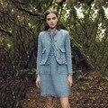 [NOVA VENDA] Conjunto de moda Vestido OL Nova Pista 2017 Primavera Outono das Mulheres longo de Manga Curta Jaqueta + Colete Mini Vestido Azul Tweed conjunto