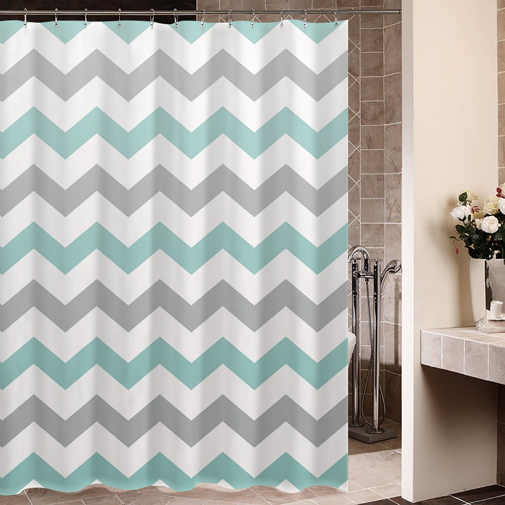 Memory Home Chevron Shower Curtain Gray Green Striped Waterproof Mildewproof Polyester Fabric Bath Curtains