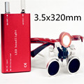2017 hot selling CE Dental Surgical Medical Binocular Loupes 3.5X 320mm + LED Head Light Lamp S+R RED RDL-025
