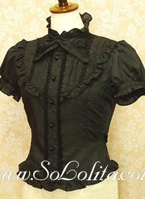 Lolita Lovely Black Bowtie Puff Sleeves Cotton Black Gothic Blouse