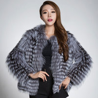 Ethel Ande Newest Real Silver Fox Fur Coats Natural Silver Fur Strip Sewd Toghter Fur Jacket Striped Overcoat Wholesale