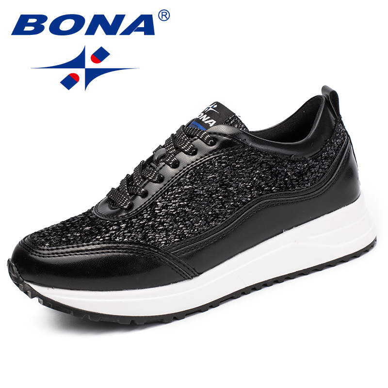 BONA New Classics Style Women Sneakers Shoes Rivet Sequins Shiny Femme Comfort Shoes Lace Up Lady Flats Sapato Feminino Zapatos black sequins embellished open back lace up top