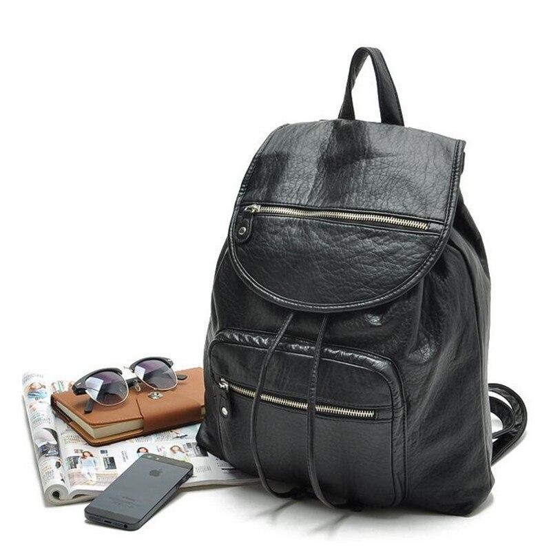 2016 new Simple Designer Small Backpack Women Black Travel PU Leather Backpacks Ladies Fashion Female Rucksack