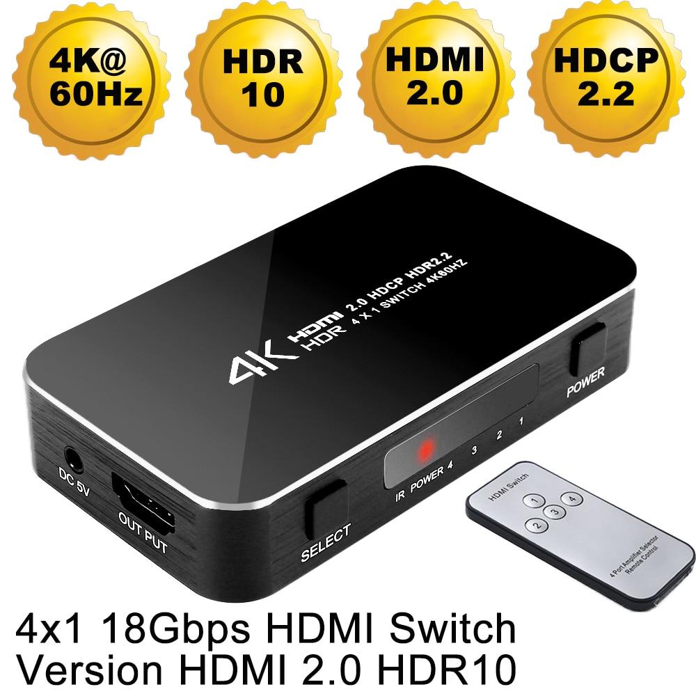 Mini 4 Port 4x1 HDMI Commutateur Ultra HD 4K @ 60Hz HDMI 2.0 HDCP 2.2 4 Dans 1 Out Switcher Box Avec IR Contrôle Pour PS4 Apple TV HDTV