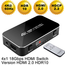 Mini 4 Port 4x1 HDMI Schalter Ultra HD 4K @ 60Hz HDMI 2,0 HDCP 2,2 4 In 1 Out Switcher Box Mit IR Control Für PS4 Apple TV HDTV(China)