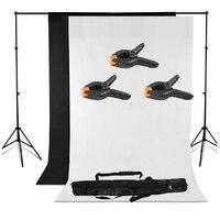 MAHA Hot Photo Lighting Studio Support Stand Kit Set Black White Background Backdrop