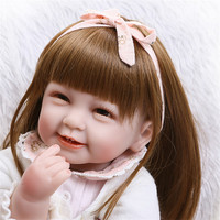 NPK COLLECTION White Dress American Sweet Girl Reborn Doll With Long Curly Hair Bonecas The Best Christmas Gift Brinqued Doll