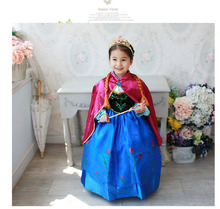 2017 retail new cosplay blue dress stage costume anna elsa dress with red cloak, girls dresses, kids child baby clothing