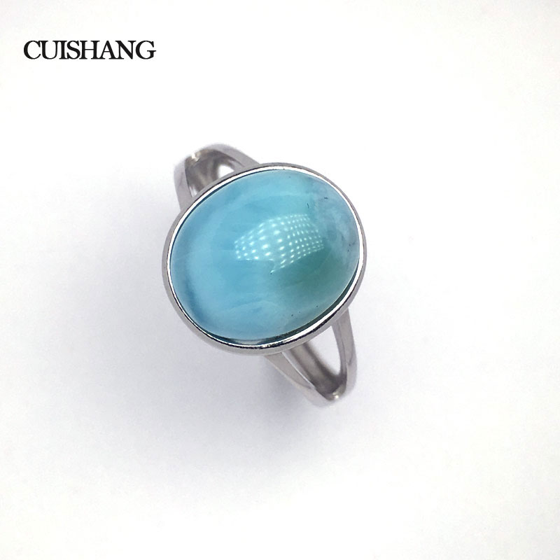 CSJ Natural larimar Ring Blue Big Stone Sterling 925 Silver Fine Jewelry for Women and Lady Wedding Engagement GiftCSJ Natural larimar Ring Blue Big Stone Sterling 925 Silver Fine Jewelry for Women and Lady Wedding Engagement Gift