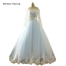 RealIvory and Blue Ball Gown Lace Wedding Dresses 2017 with Long Sleeve Jacket Boleros Long Bridal Gowns robe de mariage LW89