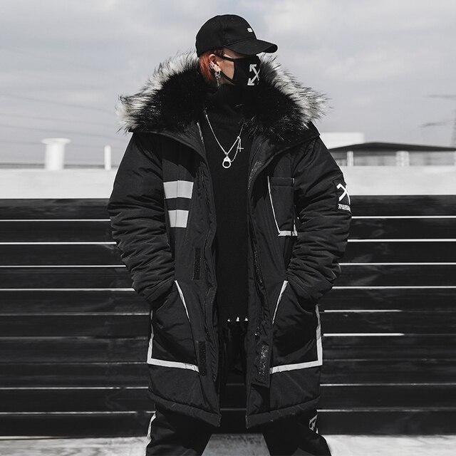 Flash Sale Red Black Long Parkas Jacket Men Winter Fur Collar Fashion Casual Hip Hop Thick Jacket Streetwear Male Cotton Coat Couple