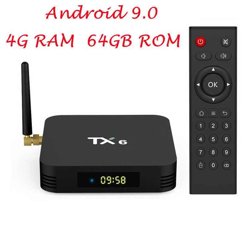 TX6 Smart TV BOX Android 9.0 Allwinner H6 Quad Core USB 3.0 4G/64G 2.4G/ 5G WIFI Kép BT4.1 4K HD Neftflix Google Set Top Box