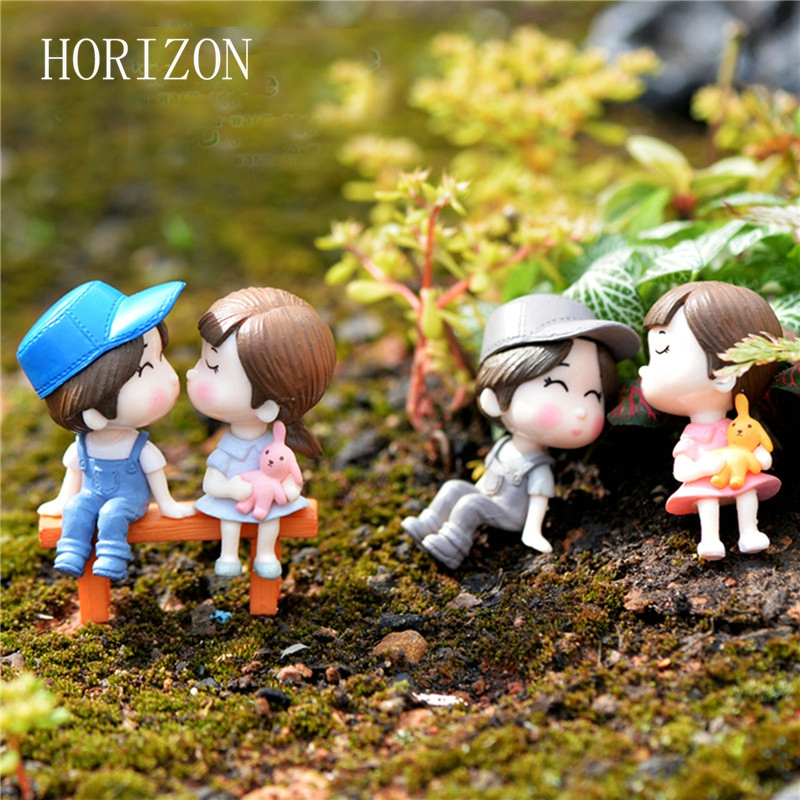 Gnome In Garden: 1set Sweety Lovers Couple Chair Figurines Miniatures Fairy