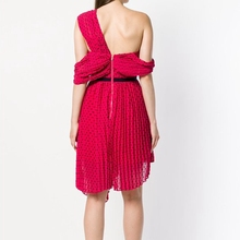 Self Portrait Party Dress Designer 2018 Summer Office Women Sexy Cold Shoulder Red Backless Dresses
