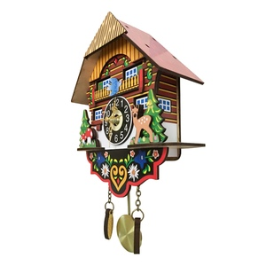 Image 4 - Hot Silent Cuckoo Wall Clock, Yellow European Style Living Room Vintage Wall Clock precise