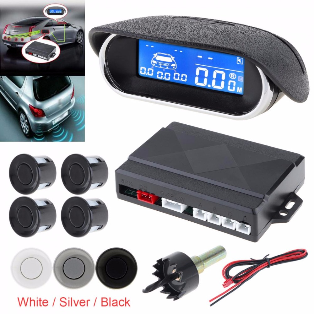 Car Parktronic LED Parking Sensor Kit Radar Monitor Detector 4 Sensors Alarm Indicator Reverse System with