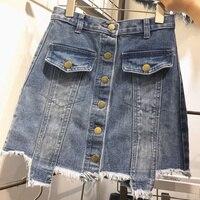5xl Plus Size Vintage Skirts Women 2016 Summer Style Korean Vestido Feminina Denim Jeans Skirt Thin