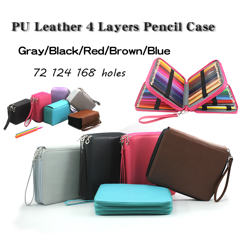 72/124/168 Holes Big Pencil Case School Pecncil box Super Large Capacity PU Leather Pencilcase Sketch Brush pen Pencil Bag Tools big capacity high quality canvas shark double layers pen pencil holder makeup case bag for school student with combination coded lock