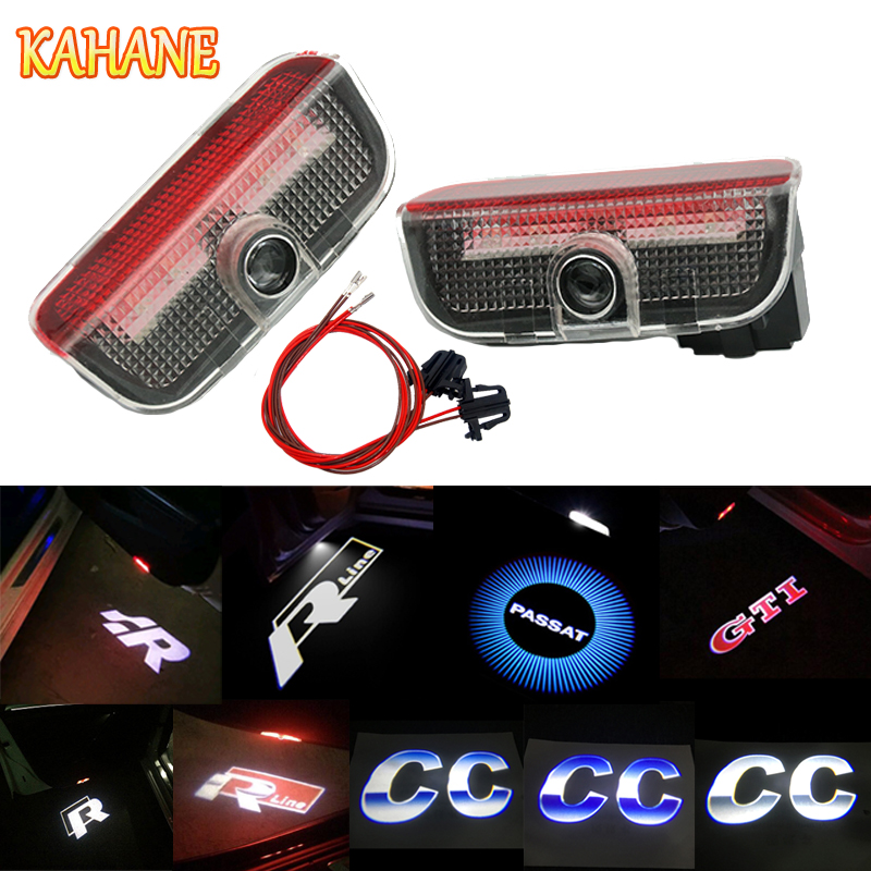 KAHANE 2pcs LED Car Door Light Courtesy Laser Projector Guest Light FOR VW Golf 5 6 7 Passat B5 B6 B7 T5 Touran Jetta MK5 MK6 CC 2x led car door welcome light logo projector for volkswagen vw golf 5 6 7 tiguan cc jetta mk5 mk6 passat b6 b7 touareg scirocco