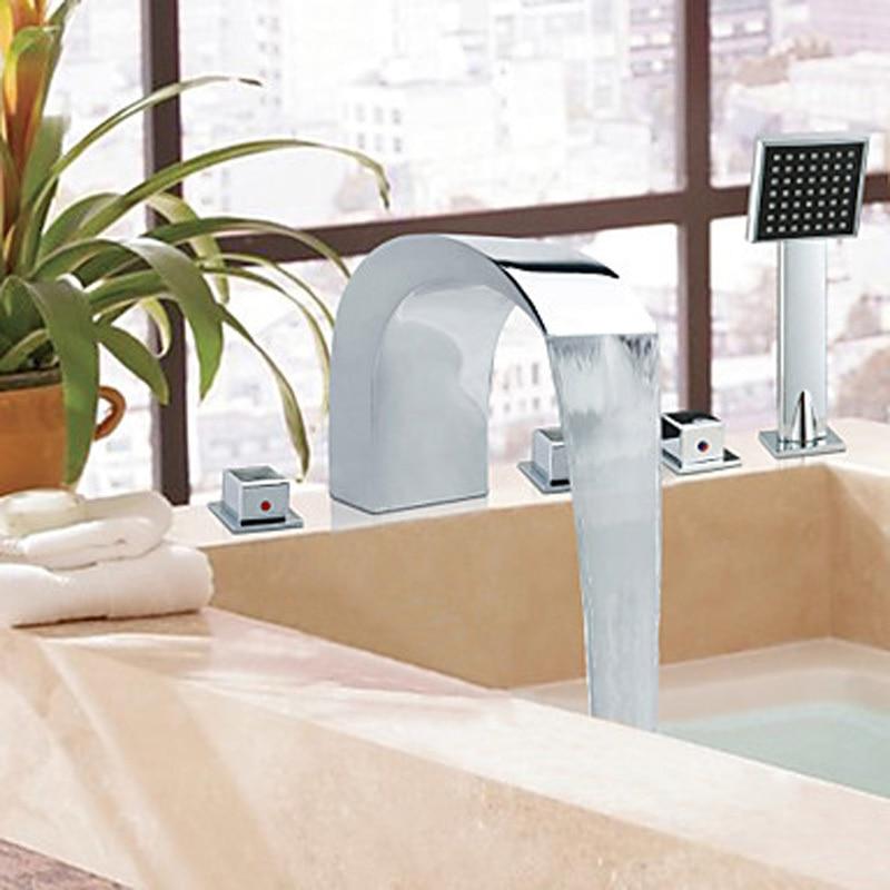 Chrome Finish Roman Waterfall Bathtub 5PCS Mixer Tap Faucet W/ Hand Shower free shipping polished chrome finish new wall mounted waterfall bathroom bathtub handheld shower tap mixer faucet yt 5333