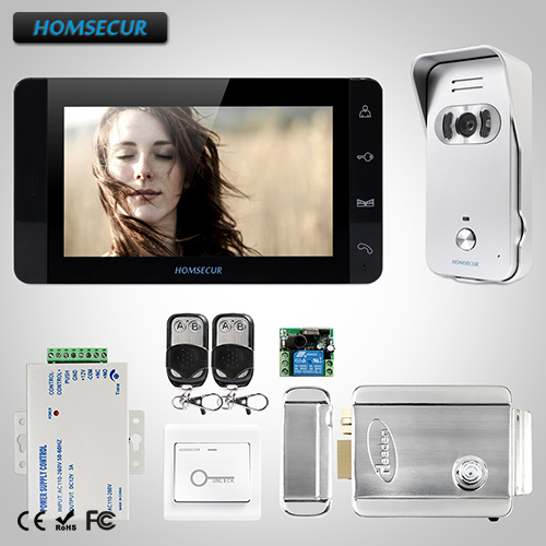 HOMSECUR 7 Wired Video&Audio Home Intercom+Black Monitor for House/Flat TC021-S + TM703-B