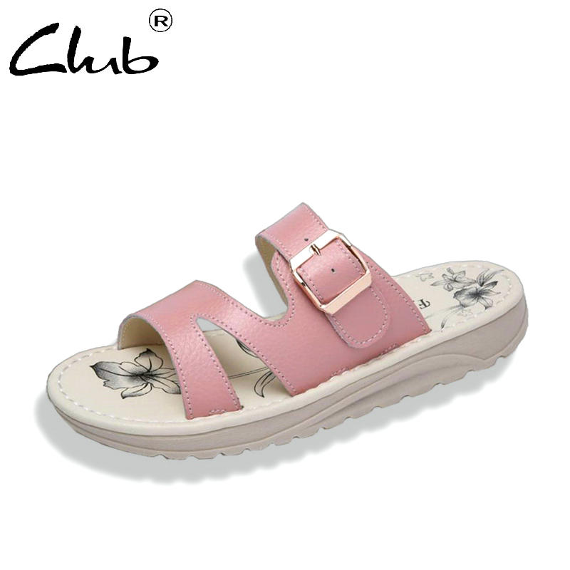 Club 2018 Summer Women Flat Sandals Shoes Fashion Leather Beach Slippers Round Toe Comfortable Sandals Flip Flops Female Shoes summer leisure slippers slip on round toe comfortable sandals women flat sandals casual flip flops female shoes