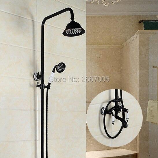 Freies verschiffen Heimwerker Messing Dusche Set Elegante Regen Badewanne Wasserhahn Dusche Schwarz Überzogen Großhandel Und Einzelhandel GI281