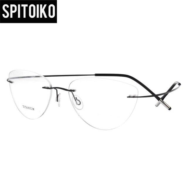 Cat Eye Lightweight Rimless Glasses Frames Memory Titanium ...