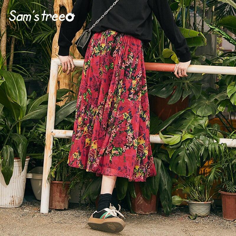 Samstree ผู้หญิง Vintage ยาวกระโปรงฤดูร้อน Bohemian Floral พิมพ์กระโปรงสาว A Line กลางลูกวัวจีบหญิงกระโปรงสีแดง-ใน กระโปรง จาก เสื้อผ้าสตรี บน AliExpress - 11.11_สิบเอ็ด สิบเอ็ดวันคนโสด 1