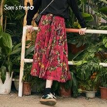 d48f3fc5ba3a Samstree Mulheres Do Vintage Boêmio Saias Longas de Verão Estampas Florais  Saia Jovens Senhoras A-line Mid-Calf Plissada Saias F..
