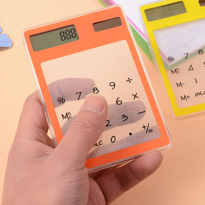 Мини-прозрачный калькулятор ЖК-дисплей Солнечный Сенсорный экран офисные Счетчик Расчет Tool Высокое качество