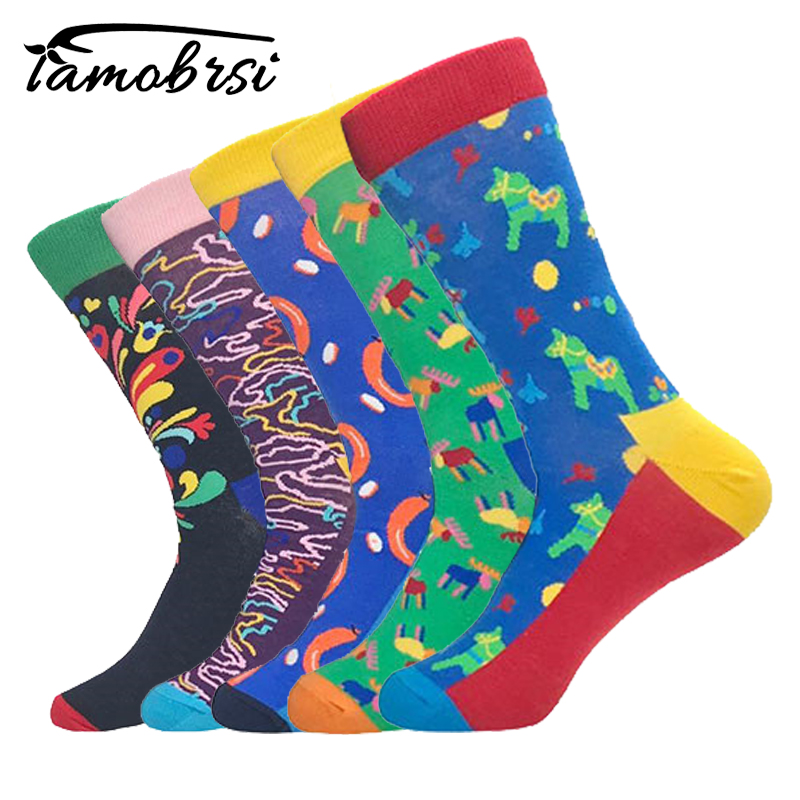 2018 Fashion Style Socks Short Circle Horse Geometry Pattern Funny Cotton Socks Women Winter Warm Men Unisex Happy Socks Female