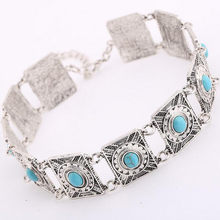 2019 Hot Boho Collar Choker Silver Necklace statement jewelry for womenFashion Vintage Ethnic style Bohemia Beads neck(China)