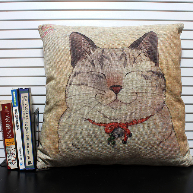 Free Shipping Novelty Cute Smile Fat Cat With Bell On Neck Pattern Cushion  Cover Sofa Car