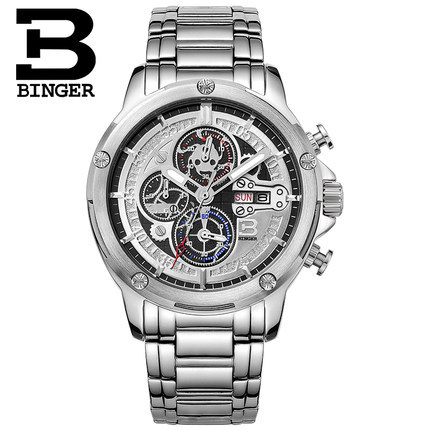 2017 Hot Watches Men Top Brand Binger Luxury Wristwatches Stainless Steel Casual Watch Relogio Masculino Fashion Hours Clock hollow brand luxury binger wristwatch gold stainless steel casual personality trend automatic watch men orologi hot sale watches