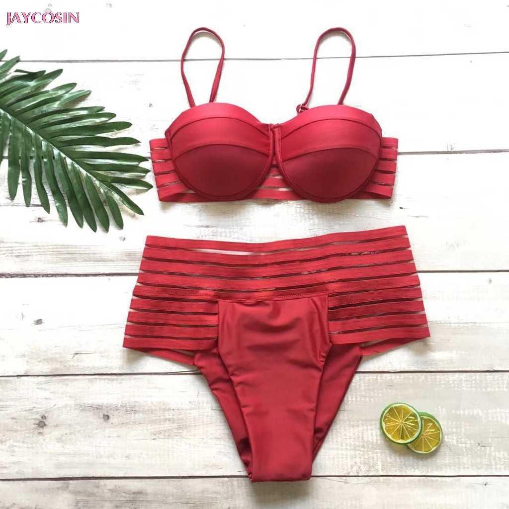 JAYCOSIN 2019 ملابس السباحة S-XL إمرأة عالية الخصر رفع السباحة لعوب ملابس السباحة ملابس بحر عاشق هدية قطرة #0421