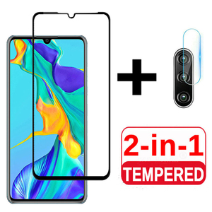 Image 1 - 2in1 protective glass for huawei p30 p40 lite camera screen protector tempered glass for huawei p 30 40 lite 30lite 40lite light