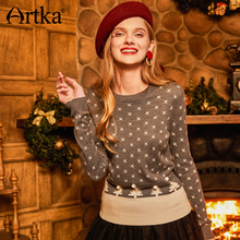 Artka New Spring Winter New Girl Cute Jacquard All-match Pullovers Sweater O-neck Full Sleeve Tree Pattern Sweater Y010572Q(China)