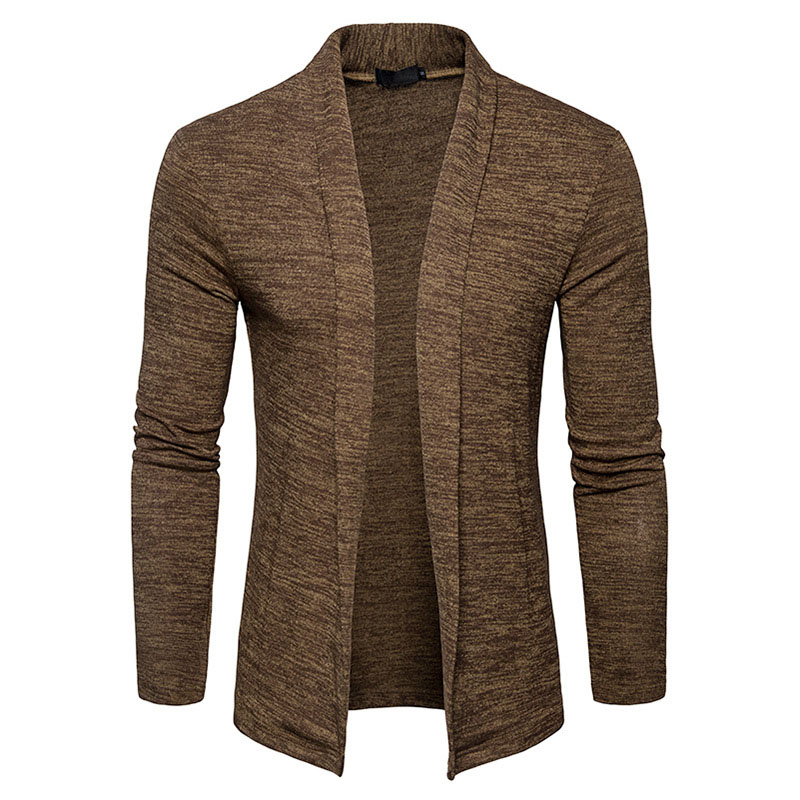 Men Cardigan Solid color  Spring No buttons lapel slim fit Mens Long sleeve knitted Sweater Stylish Coat Cardigan