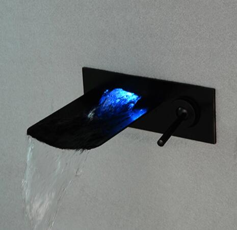 Free Shipping Black Oil Rubbed Led Waterfall Faucet Bathroom Basin Faucet Sink Mixer wall mounted Led faucet sink faucet free shipping gold clour wall mounted vessel sink faucet basin waterfall faucet